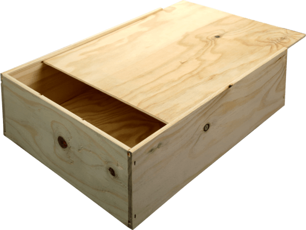 B-STOCK - 3 bottles wine wooden box with sliding lid von VINELLO
