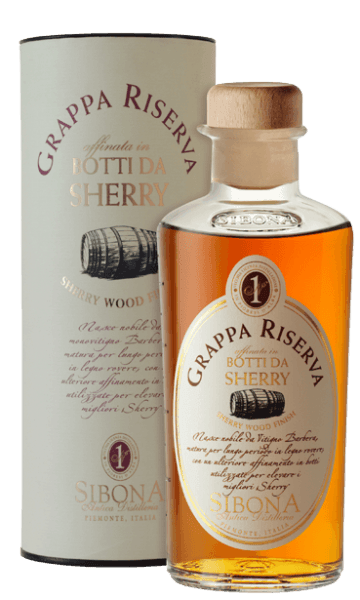 The Grappa Riserva Botti da Sherry by Antica Distilleria Sibona is presented in a glass of intensely shiny amber. On the nose and on the palate this special grappa surprises with elegance and uniqueness, in the long finish very clear sherry notes resonate from the ageing in sherry barrels. Production of the grappa RIserva Botti da Sherry from Antica Distilleria Sibona The basis for this particular grappa is a grappa Riserva di Barbera, which is first aged for several years in classic oak barrels, then matured for several months in Spanish wooden barrels used by one of the most prestigious Spanish distilleries for the ageing of sherry. The Antica Distilleria Sibona has for the first time also used the process of ageing in sherry barrels, which is already practiced with very good results for whisky, for the ageing of grappa riservs. The result was qualitatively and tastefully outstanding and is rewarded with increasing success and recognition. Awards Premio Alambicco - GoldInternational Spirits Competition - GoldInternational Competition Acquaviti d 'Oro - Bronze The grappa comes in attractive gift packaging.