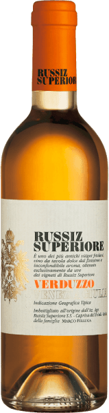 This pure dessert wine from Russiz Superiore is vinified from the grapes of the Verduzzo Friulano grape variety. Verduzzo Venezia Giulia by Russiz Superiore exudes seductively sweet aromas of apricots, quince and honey. These aromas are also reflected in the taste of Verduzzo, rounded off by nutty notes of chestnuts. Food recommendation for  Verduzzo Venezia Giulia by Russiz Superiore This dessert wine from northern Italy goes wonderfully with fruity desserts or even matured soft cheese.