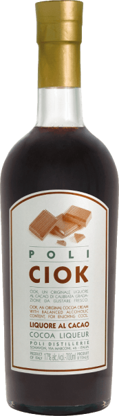 The Poli Ciok Cocoa Liqueur by Jacopo Poli is a creamy chocolate liqueur that is refined with Poli Grappa. An absolute treat for all chocolate fans. In the glass, this liqueur is presented in a strong chocolate brown. The intense bouquet smells wonderful of dark fine cocoa and the typical, fine aromas of Poli Grappa. On the palate, of course, it continues with lush, dark chocolate. The wonderfully creamy, creamy texture accompanies the long, persistent reverberation. Production of the Poli Ciok Cocoa Liqueur For this cream liqueur, Poli uses fine dark chocolate, milk-fresh milk and of course its own grappa to conjure up this deliciously creamy, chocolatey liqueur. Serving recommendation for the Poli Ciok cocoa liqueur Jacopo Poli Serve this chocolate liqueur chilled with desserts - such as ice cream, pudding or cake.