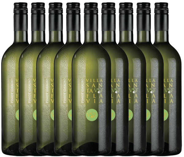 Pinot Grigio at Villa Santa Flavia Winery offers fresh, mild wine enjoyment. The nose and palate enjoy fruity-fresh aromas of crisp apples with a subtle herbal note. Buy the Italian white wine in the practical 9 pack. Find out more about this dry white wine from Italy in the individual article ofthe Pinot Grigio by Villa Santa Flavia.