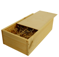 2 bottles wine wooden box with sliding lid and wood wool filling -