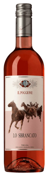 The bright pink Lo Sbrancato Toscana Rosato IGT from Tenuta il Poggione is an enormously fruity drop, with a bouquet of red fruits, fresh-herbal pomegranate and raspberry, and a slightly vinous, ethereal note in the background. On the palate it is very fresh and fine, with the taste of strawberries and raspberries. Light, full body with fine tannins, creamy and fresh, a rosé with the structure of a Sangiovese. Vinification of the Lo Sbrancato Toscana Rosato IGT by Tenuta Il Poggione For this Rosato from Tuscany 100% Sangiovese grapes are vinified. The name of the wine is derived from the picture of the same name, which hangs in the historic tasting room of the winery. The must is macerated for 24 hours on the skins, then the must ist fermented for 25 days under temperature control. Food pairing for the Lo Sbrancato Toscana Rosato IGT by Tenuta Il Poggione Enjoy this fruity, tasty Rosato from Tuscany as an aperitif or as an accompaniment to Italian starters, to the classic Tuscan bruschetta, to slices of ham, salami, to vegetable dishes, grilled or stewed, seafood and soft cheese.