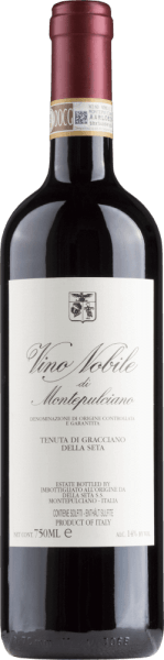 With the Tenuta di Gracciano della Seta Vino Nobile di Montepulciano comes a first-class red wine in the glass. Here it offers a wonderfully dense, crimson color. Ideally poured into a red wine glass, this red wine from the Old World reveals wonderfully expressive aromas of jasmine, lilac, plum and violet, rounded off by black tea, gingerbread spice and bitter chocolate, which contributes to the barrel ageing. This red from Tenuta di Gracciano della Seta is perfect for all wine lovers who like it dry. However, it never appears sparse or brittle, but round and supple. On the palate, the texture of this powerful red wine is wonderfully silky. Due to the moderate fruit acidity, the Vino Nobile di Montepulciano flatters with a velvety palate, without missing out on juicy liveliness at the same time. The finale of this red wine from the Tuscan wine-growing region, more precisely from Montepulciano, finally convinces with good reverberation. The finish is also accompanied by mineral facets of limestone-dominated soils. Vinification of the Tenuta di Gracciano della Seta Vino Nobile di Montepulciano The powerful Vino Nobile di Montepulciano from Italy is a cuvée vinified from the Merlot and Sangiovese grape varieties. The grapes grow under optimal conditions in Tuscany. Here the vines dig their roots deep into soils of limestone. The berries for this red wine from Italy are harvested exclusively by hand at the time of optimal ripeness. After harvesting, the grapes quickly reach the winery. Here you will be selected and carefully broken up. This is followed by fermentation in large wood at controlled temperatures. After its end, the Vino Nobile di Montepulciano is aged for another 18 months in 900 l Tonneau from French and Slavonic oak. Food recommendation for the Tenuta di Gracciano della Seta Vino Nobile di Montepulciano Drink this red wine from Italy ideally tempered at 15 - 18°C as a companion to spaghetti with caper tomato sauce, braised chicken in red wine or red onion