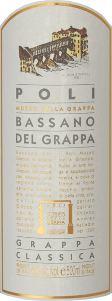 The Bassano del Grappa Classica by Jacopo Poli is a lively, elegant grappa distilled from the marc of the Cabernet Sauvignon and Merlot grapes.  A clear, transparent colour is present in this pomace fire in the glass. The aromatic bouquet reveals fruity aromas of juicy apples, ripe quinces and prunes. Very lively with an elegant body, this Italian marc brandy flatters the palate. A very balanced and harmonious grappa with a pleasant finale.  Distillation of Poli Bassano del Grappa Classica The still fresh marc of Merlot and Cabernet Sauvignon grapes is traditionally distilled in old copper burners. After the firing process, this grappa still has 75% by volume. By adding distilled water, this pomace brandy reaches an alcohol content of 40% by volume. This grappa then rests in stainless steel tanks for a total of 6 months, after which it is gently filtered and filled onto the bottle. Serving recommendation for  the Bassano del Grappa Classica Jacopo Poli Enjoy this grappa at a temperature of 10 to 15 degrees Celsius as a refreshing digestive or with desserts made from fine pastries.