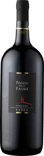 The Poggio delle Faine Rosso IGT by Poggio delle Faine appears in the glass in a deep garnet red and reveals its concentrated bouquet. This contains the aromas of dark berries and cherries, as well as the spicy components of vanilla wood. On the palate, this cuvée of Sangiovese and Cabernet Sauvignon is present with warm and flattering fruit and fine nuances of coffee and chocolate. This red wine from Tuscany has a long reverberation, concentration and a lot of potential. Food recommendation for the Poggio delle Faine Rosso IGT by Poggio delle Faine Enjoy this dry red wine with pasta with tomato sauces, strong meat dishes of pork, beef, lamb or game or with grilled dishes. Awards for Poggio delle Faine Rosso IGT by Poggio delle Faine Mundus Vini: Gold (Jahrgänge 2011, 2008, 2007) Mundus Vini: Silver (born 2009) Berliner Winetrophy: Gold (born 2011) Daejeon Wine Trophy: Gold (vintage 2008) Decanter: Silver (vintage 2007)