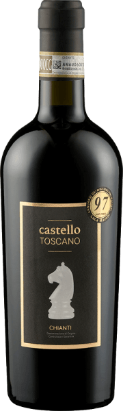 The Chianti of Castello Toscano is intensely ruby red in the glass. In the nose, it shows the floral scents typical of Sangiovese, especially violet and iris, framed by ripe cherry fruit and noble wood aromas. On the palate, this elegant Chianti by Castello Toscano has a balanced play of fruitiness and freshness. Round tannins, a fine wood note and a particularly soft taste make this classic Chianti a pleasure. Vinification of the Chianti of Castello Toscano For this Chianti, the Sangiovese grapes are traditionally vinified. After fermentation, the Chianti is aged for 9 months in small wooden barrels. Food recommendation for the Castello Toscano Chianti Enjoy this Italian red wine with pappardelle with rabbit ragout or with savoury meat dishes.