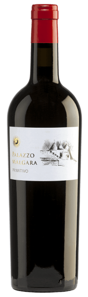 The intense, dense red colour of the Primitivo by Palazzo Malgara resembles a radiant ruby. A whole fruit basket full of blackberries, currants, elderberries and other dark fruits (cherry, plum) fills the nose. Spicy notes of cedar and some cinnamon, vanilla and a hint of rosemary round off the aromas of the nose. On the palate, this Italian red wine shines with its fruity-warm and floral style. A full, juicy and velvety body is revealed on the palate. The finale is wonderfully pleasant and soft. Vinification of Malgara Primitivo After careful harvesting, the grapes of the Palazzo Malgara vineyard are destemmed and mashed. The resulting mash is fermented in a stainless steel tank and the resulting wine is aged in a barrique for six months. Food recommendation for the Primitivo of Palazzo Malgara This red wine from Puglia is an excellent accompaniment to roast beef with buttermilks and potato stew as well as to spicy cheeses.