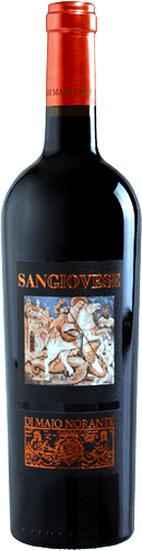 """Di Majo Norante Sangiovese from Molise The Sangiovese Terre degli Osci IGT by Di Majo Norante is brilliantly ruby red in colour. This magnificent Sangiovese from the """"other coast"""" of Italy reveals to the nose a fresh and fruity bouquet in which violet and forest fruits are in the foreground, in the background a light leather note is recognizable. On the palate, this red wine from Di Majo Norante is wonderfully dry, full-bodied and soft, beautifully structured and characterized by pleasant cherry and plum notes it rolls over the tongue. In the medium-long finish, the fruity and spicy notes from the bouquet end. Vinification of Sangiovese Terre degli Osci by Di Majo Norante The grapes for this pure Sangiovese grow on calcareous soils, which face the sea almost gently at a height of 50 to 100 m. After manual harvesting in October, the grapes are macerated on the skins for a period of one month. The malolactic fermentation is carried out completely. Before the Sangiovese from Di Majo Norante is put on sale, it remains in the bottle store for at least 3 months. Food pairings for the Sangiovese Terre degli Osci by Di Majo Norante This molise sangiovese goes great with appetizers, pasta with tasty sauces, game bread, meat and hard cheese. It tastes best when served at 16° to 18°C. Awards for the Sangiovese by Di Majo Norante Gambero Rosso: 1 glass for 2016 Gambero Rosso: 2 glasses for 2015"""