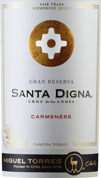 The Valle Central wine region of Chile is home to Miguel Torres' Santa Digna Carmenère Gran Reserva grape variety. The rich red colour of this wine is reminiscent of juicy cherries. The expressive bouquet reveals intense aromas of dark berries - especially blackberry and blackcurrant. This is accompanied by fine, balsamic notes, subtle hints of eucalyptus and a hint of mandarin. The palate is dominated by the elegant dark fruit. The sweet tannins are accompanied by spicy notes of black pepper and some liquorice. Thanks to the wood finish, this Chilean red wine still has delicate toast nuances. The body is wonderfully dense with a velvety texture that accompanies in the long reverberation. In Chile, the crossroads that marked the transition from urban to rural areas were called Santa Digna. They acted as a kind of boundary stone that represented the symbol of growth and prosperity and promised all protection that moved from one area to another. Vinification of Santa Digna Carmenère Gran Reserva The Carmenère grapes will be harvested from mid-April in the vineyards of Valle Central. After the temperature-controlled fermentation (approx. 28 degrees Celsius) of 7 days, the mash remains on the berry skins for another month. Wood ageing for this wine is carried out in Nevers oak barrels for a total of 12 months. After that, this wine rests on the bottle for another 3 months. Food recommendation for the Miguel Torres Gran ReservaCarmenère Santa Digna Enjoy this dry red wine from Chile with spicy meat dishes - especially game and red meat from the grill - or with smoked sausage specialities.