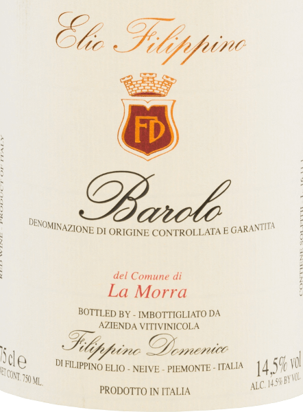 Elio Filippino's La Morra Barolo DOCG comes in a bold garnet red colour with orange highlights. The intense bouquet is characterized by a complex variety of aromas of ripe berries - especially raspberries and blackberries. This is accompanied by subtle hints of grapes and dark chocolate. On the palate, this Italian red wine pampers with a body-rich, sustainable character that does not lose its elegance despite all its strength. The finale is wonderfully long lasting and is accompanied by berry tones. Vinification of Elio Filippino La Morra Barolo The Nebbiolo grapes for this grape-varietal wine are harvested by hand and carefully selected in Elio Filippino's wine cellar. The mash is then fermented in a temperature-controlled manner. This wine rests in Slavonic oak for a total of 24 months after completion of the fermentation process. Food recommendationfor Barolo Elio FilippinoLa Morra Enjoy this dry red wine from Italy with all kinds of dishes with game with cranberry sauce, with matured cheeses, but also with desserts with fresh fruits.