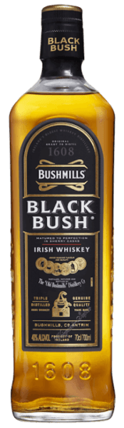 """The Bushmills Black Bush by Old Bushmills Distillery offers rich and fruity notes, with hints of dried fruits, raisins and Christmas pastries, as well as spicy aromas that combine with the sweet sherry notes to form a sophisticated bouquet. On the palate, this Irish whiskey is of soft and silky texture, nutty flavours complement the fine interplay between sweetness and alcohol. Production and maturation of the Bushmills Black Bush from Old Bushmills Distillery Bushmills Black Bush Irish Whiskey is one of Ireland's most popular whiskeys. It is made from a blend of 80% malt whiskeys and 20% grain whiskeys aged for up to 8 years in former Oloroso sherry barrels. The proportion of malt whiskey is exceptionally high. All malts from Bushmills are distilled three times. The mash contains, according to the centuries-old tradition, unmalted barley; drying over peat smoke is completely dispensed with. This gives these Irish whiskeys from the traditional distillery Old Bushmills their typical fruity, soft character, without smoky notes in the scent and taste. Old Bushmills Distillery Bushmills Black Bush Serving Recommendation Connoisseurs recommend enjoying the Bushmills Black Bush Irish Wishkeyat room temperature, because it then unfolds its complex spicy scents and flavours best. Of course, it can be served neat or on-the-rocks on ice. Awards San Francisco World Spirits Competition 2015 and 2014 Gold;International Wine & Spirit Competition 2013 """"Outstanding"""" Gold; San Francisco World Spirits Competition 2010 Double Gold"""