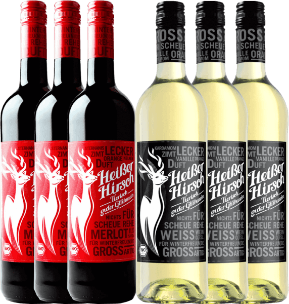 Now it gets hot in the pre-Christmas season with our 6-pack of organic mulled wine from Hot Deer. Included is the red and white mulled wine. Enjoy the vegan mulled wine with family and friends and start the Advent season comfortably. The hot deer mix package includes: 3 bottles: hot deer red mulled wine  3 bottles: hot deer white mulled wine