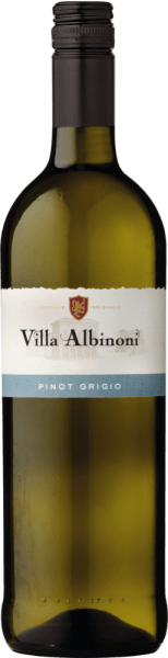 The Pinot Grigio by Villa Albinoni presents itself in a light straw yellow in the glass and unfolds its typical bouquet. This white wine enchants with its wonderfully fruity aroma of apple and citrus fruit, which are accompanied by subtle floral notes. On the palate, this Pinot Grigio is pleasantly delicate, fruity and lively freshness. Vinification for the Pinot Grigio of Villa Albinoni  The grapes for this Pinot Grigio come from vineyards with dry, loamy and calcareous soils. The climate is Mediterranean, with hot dry summers and mild humid winters. After selective harvesting, the grapes are gently pressed and fermented and aged in stainless steel tanks under temperature control. Food recommendation for the Pinot Grigio of Villa Albinoni  Enjoy this dry white wine as an aperitif or with dishes with fish.