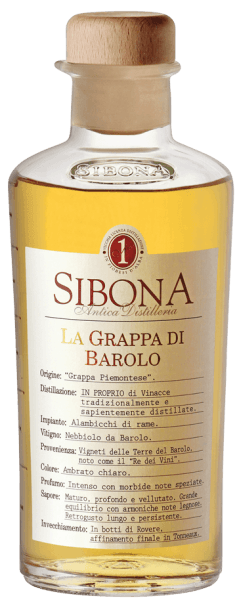 The Grappa di Barolo by Antica Distilleria Sibona is a real Piedmontese grappa. In the glass it presents itself bright golden, on the nose it smells intense, with spicy, soft notes, on the palate it looks velvety, warm, profound and ripe, with an excellently integrated harmonious wood note. Long and soft reverberation. Production of the Grappa di Barolo of Antica Distilleria Sibona The Grappa di Barolo is distilled from the Nebbiolo grape marc, which comes from the vinification of Barolo wine in the traditional DOCG area around Barolo. The grappa is first aged in Austrian oak barrels and then refined into barriques. Awards International Wine and Spirit Competition - Bronze and SilverConcours Mondial de Bruxelles - Silver