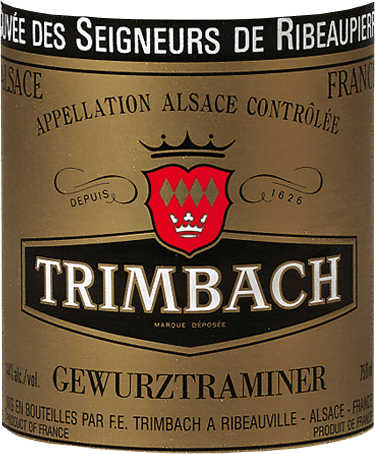 The Gewurztraminer Cuvée des Seigneurs de Ribeaupierre by Trimbach is a masterpiece from Alsace. Grapes grown on lime-marl soil give this Gewurztraminer by Trimbach its strong and characterful touch. In the glass comes the Cuvée des Seigneurs de Ribeaupierre with light straw yellow and golden reflections. The nose delights with opulent yet harmoniously integrated rose, nutmeg and lychee aromas. Fine wood shades complement the nose. On the palate, the Gewürztraminer Cuvée des Seigneurs de Ribeaupierre by Trimbach is extremely complex, well-structured and very profound. Vinification of the Cuvée des Seigneurs de Ribeaupierre Gewurztraminers by Trimbach Only in large years are Gewürztraminer grapes harvested from old vines and vinified into the Cuvée des Seigneurs de Ribeaupierre. The fermentation takes place in a stainless steel tank, after which the wine matures in large wood. After filling the bottle, Trimbach gives this piece of jewellery another 4 years or more for refinement. Food recommendation for the Trimbach Cuvée des Seigneurs de Ribeaupierre Gewürztraminer Enjoy this fine traminer from Alsace with goose liver and pies, fine Asian cuisine, as well as Munster cheese and blue mold.