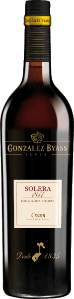 The Solera 1847 Cream by Gonzalez Byass is an aromatic, sweet sherry made from Palomino Fino (75%) and Pedro Ximenez (25%) grape varieties. The grapes grow in the Spanish wine region DO Jerez. On the occasion of the birth of his first son in 1847, Manuel María González founded the Solera in 1847.  In the glass, this wine sparkles in a shiny amber with golden highlights. Intense aromas of raisins, dried figs and fine oak notes flatter the nose. The palate is taken by this sherry from a full-bodied, soft body with juicy sweetness. Dry plums blend with nutty aromas and elegant Solera oak to create an elegant fullness. The aromatic finale comes with a never-ending reverberation.  Vinification of Byass Solera 1847 Cream The grapes for this sweet sherry are harvested and vinified separately. First, the berries are fermented in stainless steel tanks  and then sprayed on to 18% by volume. Subsequently, this sherry first matures separately in oak barrels (600 litres) in two separate Solera systems. When the first maturation period of about 3 years is complete, the two sherries are married together and placed in the old Solera 1847 for a further 5 years.  Food recommendation for the Cream Solera 1847 Gonzalez Byass This sweet sherry is an excellent accompaniment to all kinds of desserts - whether with fresh fruit, nut, chocolate or cream ice cream. But this sherry also goes perfectly with small snacks (roasted almonds) or spicy cheeses.  Awards for  the Solera 1847 Cream Gonzalez Byass Mundus Vini: Gold (Award August 2013) International Spirits Challenge (ISC): Gold Medal