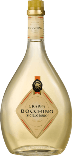 This traditional grappa from the historic Distilleria Bocchino in Canelli in Piedmont is made from selected grape marc of the Barbera d 'Asti, Dolcetto del Monferrato and Nebbiolo grape varieties from the region. The Grappa Sigillo Nero gets its typical light amber colour, its fine aroma and its pure, dry and fragrant taste through the ageing in large wooden barrels.