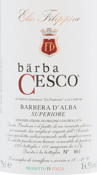Bärba Cesco Barbera d'Alba Superiore DOC 2015 - Elio Filippino von Elio Filippino