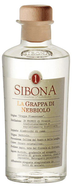 The Grappa di Nebbiolo by Antica Distilleria Sibona is crystal clear in the glass, on the nose aromas of flowers unfold, very varietal and fragrant. On the palate, this Piedmontese grappa is harmonious, intense, dry, full and strong, with wood nuances in the long finish. Production of the Grappa di Nebbiolo of Antica Distilleria Sibona For this grappa from Piedmont, marc of the Nabbiolo grapes from the Roero region is distilled. The grappa is aged for several months in stainless steel barrels. Awards International Spirits Competition - Silver