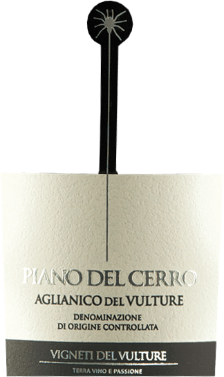The Piano del Cerro Aglianico del Vulture by Vigneti del Vulture is a varietal Aglianico from the south of Italy that inspires with a warm and full character. Delicious notes of red fruits as well as pleasantly balsamic and spicy hints make this full-fruity red wine a first-class palate. ThePiano del Cerro Aglianico del Vulture DOC by Vigneti del Vulturehas a warm and full character. The bouquet of this fantastic red wine from Basilicata pampers with wonderful notes of red fruits as well as pleasantly balsamic and spicy notes. Vinification of the Piano del Cerro The Aglianico grapes for this top red wine from Basilicata grow on volcanic soils that make UP THE special potential of THE DOC Aglianico del Vulture. After harvesting, the grapes are selected twice and the berries are gently detached from the stems. Vinification is then carried out in small oak containers with a total maceration time of 25-30 days. Every 6 hours, the pomace (the grape skins floated by the CO2 above) is manually circulated to ensure optimum extraction of colours and flavourings. Then the Piano del Cerro matures for a whole 24 months in new barriques, in which it also undergoes the malolactic acid conversion. Interesting facts about the Aglianico Piano del Cerro The small spider hanging on the label pays homage to a very special Southern Italian dance - the Pizzica. This was originally danced to heal people stabbed by the tarantula. With all kinds of instruments such as fiddles, violins, mandolins, guitars, flutes or harmonicas, people rushed to help those who had been stabbed since the late Middle Ages. They had to dance to the music until they collapsed exhausted. Unfortunately, there is not much to report about the success of the treatment, but the dance has remained to this day, as has the small tarantula on the bottle, which reminds of tradition. Food recommendation for the Piano del Cerro On the palate, the Piano del Cerro by Vigneti de Vulture presents itself as a complex and well-bala