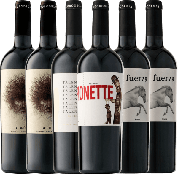 Immerse yourself in the magical world of ego bodegas with this 6-pack of connoisseurs. Not only visually, the wonderful red wines convince, but also especially the fantastic variety of aromas in the nose and on the palate. Let yourself be taken on the journey to the Spanish top wine in Jumilla. Ego Bodegas' 6-pack of red wines includes: 2 bottles Gorú Jumilla DO 2 bottlesFuerza Jumilla DO 1 bottle Talento Jumilla DO 1 bottlePuppet Jumilla DO