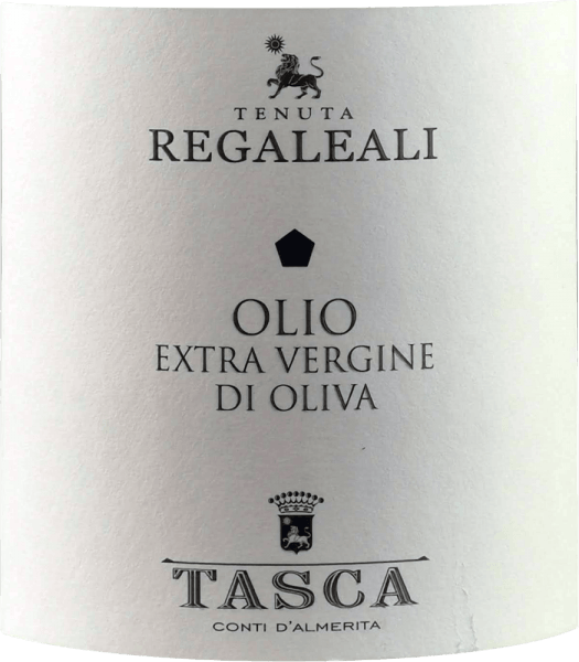 The olive oil Olio Extra Vergine di Oliva by Tasca d 'Almerita from Sicily is a wonderfully aromatic virgin olive oil that comes from the bottle with a golden hue and green shimmer. Especially aromas of rosemary and ripe as well as green tomatoes are recognizable, but also fine notes of white truffle and artichokes. The youthfulness of this olive oil from Tenuta Regaleali is underlined by a slight, spicy tingling on the tongue. The special microclimate of Sicily gives this wonderful olive oil its special, highly aromatic properties. Production of Olio Extra Vergine d 'Oliva from Tenuta Regaleali The Olio Extra Vergine di Oliva from Tasca d 'Almerita is produced from the Nocellara and Biancolilla, but also a part of Frantoio can be found in the cuvée.Harvesting on the Regaleali estate is done by hand. On the day of harvest, the olives are brought into the oil press in Valledolmo and pressed cold. For the natural decanting phase, the oil is brought into the wine cellars and when the cold on shelves subsides in March, the oil is filled into the bottles unfiltered.Tasca d 'Almerita has 3,000 olive trees, 1,000 of which are over 80 years old. Food recommendation for the Olio Extra Vergine d 'Oliva by Tasca d 'Almerita We recommend this cold-pressed oil according to Sicilian tradition with vegetable soups, pasta, grilled meat and fresh salad. Traditionally, it is also used for frying the traditional Panelle di Case Grandi, a type of pancake. Awards for Tasca d 'Almerita olive oil I Migliori Extra Vergine del Monde di Marco Oreggia - Guida Flos olei 2010 I Migliori Oli del Mondo - The Gourmet, Hamburg 2009
