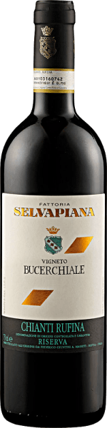 The Chianti Rufina Bucerchiale Riserva DOCG by Selvapiana is revealed in the glass in a dark red with garnet red reflections and the wonderful aromas of blackberries and blueberries. These aromas are supported by notes of cherries with floral notes. This sangiovese from Tuscany is intense on the palate and complex with lots of fabric. Vinification of Chianti Rufina Bucerchiale Riserva DOCG by Selvapiana The vines for this wine are rooted in clay and limestone soils in the municipality of Rufina Vigneto Bucerchiale. The grapes were picked by hand, macerated and fermented alcoholically and malolactically. The ageing took place in French oak barrels. Food recommendation for the Chianti Rufina Bucerchiale Riserva DOCG from Selvapiana Enjoy this dry red wine with strong dishes of pork and beef, grilled meat, lamb and game or with strong cheese. Awards for the Chianti Rufina Bucerchiale Riserva DOCG from Selvapiana Vinous - Antonio Galloni: 92 points (vintage 2012) Jancis Robinson: 16.5+ points (vintage 2012) Gambero Rosso: 2.5 glasses (vintage 2012)