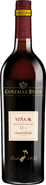 The Vina AB Amontillado from Gonzalez Byass is a pure, balanced sherry from the Palomino Fino grape variety that grows in the Spanish DO Jerez wine region. In the glass, this wine shimmers in a delicate amber color with golden yellow highlights. A fine, elegant aroma reveals itself to the nose. The bouquet has typical fino aromas of almonds and fresh yeast, complemented by hazelnuts and a subtle hint of oak wort. The palate is pampered by this dry sherry with fine woody aromas and hints of nuts. The balanced, fresh acidity harmonizes wonderfully with the salty mineral character. The finale comes with a pleasant length and subtle bitter notes and a breeze of sea salt. Vinification of Tio Pepe Gonzalez ByassAB Amontillado After carefully harvesting the Palomino Fino grapes in 15kg boxes, the harvested goods are immediately taken to the wine cellar of Gonzalez Byass. There the berries are completely destemmed and gently pressed. At low temperatures, this sherry is fermented and then sprayed onto a 15.5% by volume and placed in the uppermost barrel row of the Tio-Pepe brine. After maturation at Tio-Pepe-Solera, this sherry is transferred to itsown Viña AB-Solera. After about 12 years of maturation, this sherry is filled into the bottle. Food recommendation for the AB Amontillado Tio Pepe Byass Enjoy this dry sherry with poultry dishes with crisp beans, fine ham with asparagus or with all kinds of rice pans. In order for the aromas to unfold, we recommend that you drink this sherry in a white wine glass. Award for the Gonzalez ByassAB Amontillado Tio Pepe Wine Spectator: 91 points (2017 edition)