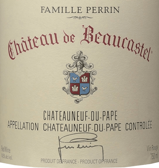 The Château de Beaucastel by Perrin & Fils from the French wine region AOC Châteauneuf du Pape in the southern Rhône Valley is an excellent, expressive and elegant top red wine cuvée, vinified from the grape varieties Mourvèdre, Grenache, Syrah, Counoise and other approved red varieties. In the glass, this wine shimmers in a deep Bordeaux red with rich cherry red highlights. The wonderfully elegant nose reveals an intense bouquet of ripe cherries, blackcurrants and floral notes of violets, aromatic herbs (bay leaf), a hint of spices and finest hints of chocolate. This French red wine convinces the palate with its incredibly elegant character. The tannins are ripe and fine, beautifully dense and concentrated structured. This perfectly underlines the seductively velvety texture, which is enhanced by fine spicy fruits. The finale is wonderfully long, held by elegant and enveloped tannins and the unforgettable aroma of fruit, spices and floral notes. Vinification of the Perrin & Fils Château de Beaucastel In the beautiful Châteauneuf du Pape (located between Orange and Avignon) is Château de Beaucastel with its 70 hectares of vineyard. The soils show up on the surface with rolled pebbles, deeper sand, clay and limestone. Each grape variety is picked separately and carefully by hand. Winemaking takes place in oak fermenters for the reductive varieties (Mourvèdre, Syrah) and in traditional enamelled concrete tanks for the oxidative grapes (all other grape varieties). After completion of malolactic fermentation, Famille Perrin marries the various varieties. Finally, this French red wine matures for 12 months in oak foundries before bottling the cuvée. Food recommendation for the Château de Beaucastel This dry red wine from France harmonizes particularly well with dark meat dishes, strong game dishes or mushroom dishes. We recommend decanting this cuvée for at least 1 hour before enjoying it. Awards for the Château de Beaucastel Châteauneuf du Pape by Perrin & Fils Decanter