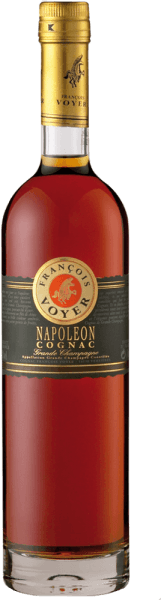 The Napoléon Cognac Grande Champagne by Francois Voyer presents amber colours with golden shimmer in the glass and unfolds its elegant and balanced bouquet with floral notes. These notes are rounded off by the aromas of peaches, plums and vanilla. This elegant brandy seduces the palate with the aromas of forest fruits and plums.  Serving recommendation for the Napoléon Cognac Grande Champagne by Francois Voyer Enjoy this pure cognac on ice as a companion to a cigar.