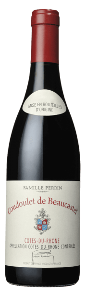 The Coudoulet de Beaucastel Côtes-du-Rhône by Perrin & Fils shines with a dark ruby red to violet colour. An intense scent of red and black fruits, thyme and earthy, peppery and smoky nuances characterise the nose. On the palate it looks balanced, but full of ripe fruit and spicy notes. Velvet-soft tannins in a long-lasting finish underline its perfect structure. Vinification of the Coudoulet de Beaucastel The Coudoulet de Beaucastelof the Perrin brothers and sons shows what is in the vines of the Rhône Valley. The winery, which has been working biodynamically since 1964, relies on hand picking and gentle processing. The maceration runs for 48 hours in the classic concrete vat, for maturation different batches come into the wooden barrel for half a year. The Coudoulet de Beaucastel Côtes-du-Rhône consists of the grape varieties: Grenache, Mourvèdre, Syrah and Cinsault. Tasting note/tasting of the Coudoulet de Beaucastel The cuvée of the southern Rhône of Perrin & Fils shines in a vibrant, concentrated dark ruby red to violet color of great depth. A finesse, intense scent of black fruits such as blackberry and cherry and thyme as well as light wood and vanilla aromas characterise the nose.  On the palate it is full, lush, juicy, balanced, soft and ripe with complex aromas of berries, plums and liquorice. Velvety, perfectly ripened tannins and a wonderful structure support the palate, which closes with a beautiful, long finish. Food recommendation for the Coudelet de Beaucastel Enjoy the Coudoulet de Beaucastel Côtes-du-Rhône with poultry and mushroom dishes or beef. Awards for the Coudoulet de Beaucastel Robert M. Parker: 92 points for 2015 Wine Spectator: 91 points for 2014