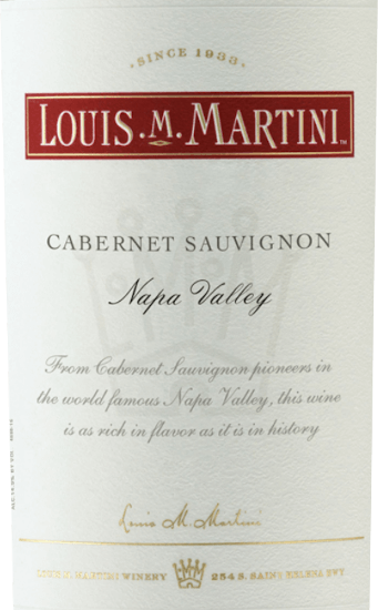 The Cabernet Sauvignon Napa Valley by Louis M. Martini is presented in a black red glass and flatters the nose with the intense notes of blackberries, accompanied by a hint of vanilla and caramel.This red wine is full-bodied on the palate and wonderfully balanced with a very long finish. Vinification of Louis M. Martini Cabernet Sauvignon Napa Valley This cuvée was vinified from Cabernet Sauvignon (90%), Petite Sirah (5%), Petit Verdot (4%) and Malbec (1%) grape varieties.After careful harvesting, the grapes were destemmed and cold macerated. After fermentation, this Californian red wine was aged for 21 months in French and American oak barrels. Food recommendation for the Louis M. Martini Cabernet Sauvignon Napa Valley Enjoy this dry red wine with roast beef, leg of lamb with cinnamon and apple and chicken pie, pecorino or Manchego. Louis M. Martini Cabernet Sauvignon Napa Valley Awards Robert Parker - The Wine Advocate: 91 points for 2013 Wine Spectator: 91 points for 2013 Wine Enthusiast: 91 points for 2013