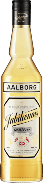 """The Aalborg Anniversary Akvavit appears in the glass in a bright golden yellow and presents its intense aromas of dill seeds, coriander and a hint of oak. On the palate, this Danish aquavit is very mild with the dominant flavours of dill and coriander. Production of the Aalborg Anniversary Akvavit The Akvavit Anniversary is made from extra finely filtered alcohol and a mixture of herbs, spices and seeds in the distillation bubble. Only the so-called middle run of the aquavite distillate meets the requirements and is further processed. The Akvavit anniversary is given its golden yellow colour and special taste by the addition of various herbal macerates and by the refinement in American whitewood barrels. Serving recommendation for the Aalborg anniversary Akvavit Enjoy this aquavit at room temperature or well cooled. Enjoy it neatly, in combination with a beer as a """"Viking place"""" or in cocktails and long drinks."""