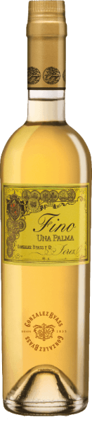 Una Palma by Gonzalez Byass from the Spanish DO Jerez wine-growing region is a grape variety pure, balanced sherry that is vinified exclusively from the Palomino Fino grape variety. In the glass, this wine shimmers in a delicate light gold with greenish highlights. The polished bouquet unfolds delicate aromas of dried nuts, freshly baked bread, floral accents of chamomile and mineral nuances thanks to the Albariza base. Very dry with a strong personality, this sherry takes the palate. The nutty notes of the nose are reflected and accompanied by a balanced, fresh texture. The finale is wonderfully long lasting. Vinification ofGonzalez Byass Una Palma Fino After the careful harvesting of the Palomino Fino grapes, the harvested goods are gently ground in the wine cellar of Gonzalez Byass. At low temperatures, this sherry is fermented in Inox steel tanks and then sprayed on to 15.5% by volume and placed in oak barrels called sobretablas (barrels for the most recent vintages). For 6 years, this sherry matures in the wooden barrels and is unfiltered and clarified on the bottle after this maturation period. Food recommendation for the Una Palma Byass Fino Enjoy this dry sherry lightly chilled just solo or pass this wine with fresh seafood and fish in creamy sauces. Awards for Fino Una Palma Gonzalez Byass Robert M. Parker - Wine Advocate: 91+ points Wine Spectator: 91 points (awarded December 2017)