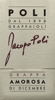 Jacopo Poli 's Amorosa di Dicembre is a velvety, aromatic grappa torcolato distilled from the pomace of Friulano and Vespaiolo.  In the glass, this pomace brandy is presented in a clear, transparent color. The aromatic bouquet is carried by notes of exotic, sweet fruits, dried fruits and raisins. With a soft body and velvety texture, this grappa takes the palate. The aromatic depth gives this grappa its wonderful finesse.  Jacopo Poli gave this grappa the name Beloved of December (Amorosa di Dicembre). Because in December, the grapes for the Torcolato dessert wine are hung for drying.  Distillation of Jacopo Poli Amorosa di Dicembre The marc of Torcaloto dessert wine is traditionally distilled in old copper burners. After the firing process, this grappa still has 75% by volume. By adding distilled water, this pomace brandy reaches an alcohol content of 40% by volume. Then this grappa rests for a total of 6 months in stainless steel tanks, then gently filtered and filled onto the bottle of Murano glass.  Serving recommendation for  the Amorosa di Dicembre Jacopo Poli Grappa  At a serving temperature of 10 to 15 degrees Celsius, this Italian marc brandy best unfolds its wonderful aromas. Hand over this grappa as a digestif, with desserts or simply as a soloist.