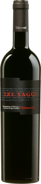 Talamonti's Tre Saggi Montepulciano d 'Abruzzo DOC shines intensely ruby red with violet reflections in the glass. On the nose, it captivates with aromas of red fruits, aroma of Amarena cherry and a light spice note, light roasted notes of hazelnut and coffee. The taste of this red wine from central Italy is dry, with a round and soft body and pleasantly juicy tannins. Long, fruity finish. Vinification of Tre Saggi Montepulciano d 'Abruzzo by Talamonti For this red wine 100% Montepulciano d 'Abruzzo is vinified. The grapes are selectively harvested and destemmed, then macerated at a controlled temperature. Malolactic fermentation takes place in barriques, where the wine matures for 12 months before being stored in the bottle for another 12 months. Only then does this intense red wine come on the market. Food recommendation for the Tre Saggi of Talamonti Enjoy this wonderful red wine from Abruzzo with roasts, game dishes and matured cheese. Awards for Talamonti Tre Saggi Mundus Vini: Silver for 2015 I Vini di Veronelli: 3 Stars & 90 Points for 2013 Wine Spectator: 88 points for 2013 Gambero Rosso: 2 glasses for 2013 Mundus Vini: Silver for 2013