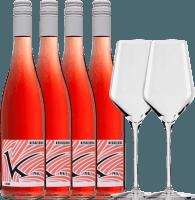 4 pack Rosé & 2 Stölzle Quatrophil glasses - Lukas Kesselring