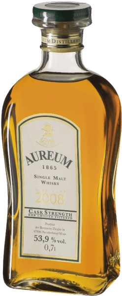 The Aureum 1865 barrel strength Single Malt Whisky by Ziegler shimmers golden brown in the glass and exudes intense sherry notes. The bouquet is rounded off by floral hints and honey. This whisky is round and malty on the palate with fine notes of fruit and sherry. The fruity sweet reverberation is long and intense. Production of the Ziegler Aureum 1865 barrel thickness The so-called newmake, the freshly roasted whisky, was reduced to about 63% vol. and brought for one year in half in chestnut barrels and the other half in allier oak barrels. This single malt whisky was then transferred to used bourbon barrels. A finish in sherry barrels crowned the finish of the maturation. During maturation, the alcohol content decreased to 53.9% vol. Serving recommendation for the Ziegler Aureum 1865 barrel thickness Enjoy this German whisky as a digestif, with cigar, espresso or chocolate.