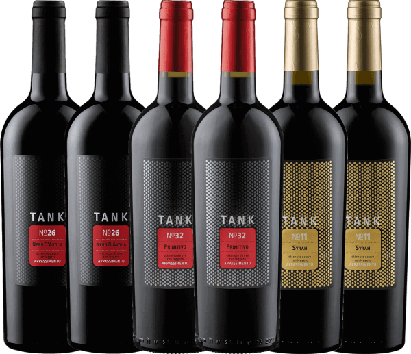 Get to know the TANK wines of the Cantine Minini from the south of Italy in our introductory package. Tank No 26 is rich in extracts and highly concentrated with wonderful fruit acidity - Tank No 32 is dense and velvety with subtle residual sweetness - Tank No 11 is powerful and silky with fine residual sweetness. All TANK creations were vinified using the Appassimento method. In the process known from the Amarone, the grapes are dried so that their aromas concentrate. For THE TANK wines, however, the drying does not take place on straw mats in special huts, but directly on the vine in the sun of southern Italy. The tasting package of Cantine Minini TANK wines includes: 2 bottles: TANK No 26 Nero d 'Avola Appassimento from Cantine Minini(dry - 13.5% vol. - Mundus Vini: gold) 2 bottles: TANK No 32 Primitivo Appassimento by Cantine Minini(semi-dry - 14.0% vol. - Mundus Vini: silver) 2 bottles: TANK No 11 Syrah Appassimento from Cantine Minini(semi-dry - 14.0 vol. %)