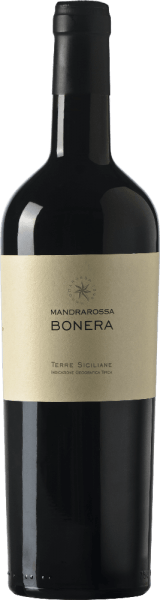 TheMandrarossa Bonera appears in the glass in a beautiful ruby red with violet reflections and reveals its expressive and Mediterranean embossed bouquet. This consists of the aromas of red fruits, with a hint of dried plums and almonds. On the palate, this red wine from Sicily is harmonious, of good structure and convinces with its sweet fruit and silky tannins. Vinification for the MandrarossaBonera The flat vineyards are located in Bonera, Menfi near Agrigento, about 90-150 meters above sea level. The vines for this cuvée from Nero d 'Avola and Cabernet Franc grow on clay and sandy soils. After a 4-6 day mash fermentation at 15-18° Celsius, this wine matures for 3 months in a barrel and another 4 months in a bottle. Food recommendation for the Mandrarossa BoneraEnjoy this dry red wine with braised meat and game, strongly fried fish and poultry or matured cheese. Awards for the Mandrarossa Bonera Gambero Rosso: 2 black lenses