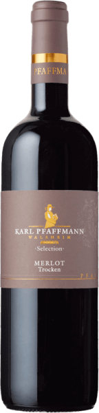 The Merlot Selection by Karl Pfaffmann presents itself in the glass in an intense ruby red with a multilayered bouquet. In the foreground are the aromas of dried plums, mocha and spices, which is underlined by chocolate and a touch of leather. This red wine reveals itself on the palate full-bodied and round with a soft tannin structure. Subtle wood notes lead into an impressively long finish. Vinification of the Karl Pfaffmann Merlot Selection The vines for this single-varietal Merlot are rooted in single vineyards on loess loam soils with limestone inclusions. The maceration period of 12 days with daily stirring of the must allows an intensive extraction of aromas, colour and tannins. Two-thirds of this wine is aged in new barriques and one-third in old barriques for 24 months. Afterwards, this German Merlot is refined for some more time in the bottle. Food recommendation for the Pfaffmann Merlot Selection Enjoy this dry red wine with braised meat dishes in red wine sauce or with a cheese platter.