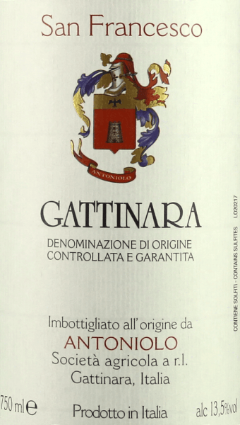 "The San Francesco Gattinara DOCG by Antoniolo is presented in the glass ruby red with distinct garnet red nuances. On the nose, an elegant aroma fan opens with fruity, floral and spicy scents, cherries, wild berries, pepper, sweet spices, rust, leather and noble mineral nuances. Intense and complex on the palate, tastefully aromatic, mineral notes with delicate iron notes, full-bodied, round, robust tannins, with lots of potential. The finish is powerful, long, mineral and sustainable. Vinification of San Francesco Gattinara DOCG by Antoniolo The Cru San Francesco embodies the ""ancient and full-bodied soul"" of the red Nebbiolo wines in the north of Piedmont, reserved and somewhat tart in character. The 4 hectares vineyard of the same name, on which the Nebbiolo grapes for this wine grow, stands on soils of volcanic origin and is completely oriented to the west. After maceration for about two weeks and alcoholic fermentation in concrete tanks, the must is transferred into wooden barrels in which malolactic fermentation and ageing take place. It is aged for 30 months in large wooden barrels and then matured for a further 12 months in bottle storage before being sold.The San Francesco Gattinara DOCG can be stored for 10 to 15 years. The quantity is limited to about 4000 bottles per year. Food recommendations for the San Francesco Gattinara DOCG by Antoniolo This elegant and rich spouse goes perfectly with traditional Piedmontese cuisine, roasts and grilled beef, game, meat stews with potatoes and vegetables, ripe, spicy cheeses . We recommend opening the San Francesco Gattinara DOCG from Antoniolo one to two hours before serving. Awards for the San Francesco Gattinara DOCG by Antoniolo Gambero Rosso: 2 red glasses for 2013, 2012, 2011, 2009 Gambero Rosso: 3 glasses for 2008 Vitae AIS: 3 vines for 2011 and 2009 Wine Spectator: 92 points for 2011, 90 points for 2010 Bibenda: 4 grapes for 2011, 5 grapes for 2008 James Suckling: 92 points for 2010 Wine Advocate Robert M.Parker: 92 points for 2008"