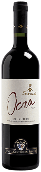 This cuveé comes from the vineyards in Bolgheri, which are owned by Prince Girolamo Guicciardini. The Ocra Bolgheri DOC by Strozzi impresses with its warm and fine taste as well as its wonderfully fruity bouquet. The Ocra Bolgheri by Strozzi harmonizes excellently with red meat and medium-ripened hard cheese.