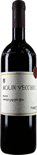 The Molin Vecchio Rosso Toscano IGT by Carpineto appears in a very intense red in the glass and presents its little bouquet with the aromas of plums, blackberries, as well as fine nuances of vanilla and liquorice. This cuvée from Italy is represented on the palate with a complex and elegant structure. Vinification for the Molin Vecchio Rosso Toscano IGT from Carpineto The grapes for this red wine from Sangiovese, Cabernet Sauvignon and Syrah grow on a southern slope and soils with clay and sandy layers. The fermentation of this Italian red wine takes place with autochthonous yeasts in small fermenters made of glass concrete with a 15-day maceration at a controlled temperature of 25-30 ° Celsius. This cuvée was then matured for about 12 months in small 225-litre American and French oak barrels and then bottled without further treatment. Food recommendation for the Molin Vecchio Rosso Toscano IGT from Carpineto Enjoy this dry red wine with fine roasts. Awards for the Molin Vecchio by Carpineto Wine Enthusiast: 91 points for 2009 I Vini di Veronelli: 92 points for 2007 Wine Spectator: 95 points for 2004