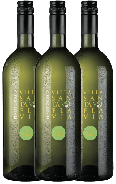 Pinot Grigio at Villa Santa Flavia Winery offers fresh, mild wine enjoyment. The nose and palate enjoy fruity-fresh aromas of crisp apples with a subtle herbal note. Buy the Italian white wine in a practical 3-pack. Find out more about this dry white wine from Italy in the individual article of the Pinot Grigio by Villa Santa Flavia.