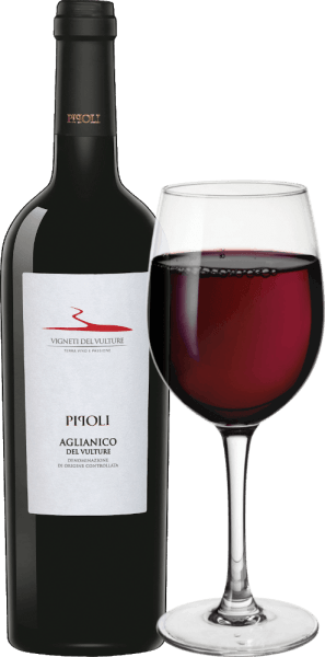 The Pipoli Aglianico del Vulture by Vigneti del Vulture from the Italian wine region Basilicata is a varietal, warm and elegant red wine. This wine is presented in the glass in an intense red with violet shimmer. The Pipoli Aglianico del Vulture unfolds its complex and powerful bouquet with the aromas of cherries, vanilla, violet, liquorice and black pepper. This red wine from southern Italy is warm on the palate and has a full body. Its ripe and sweet tannins lead into the long and balsamic finish. Vinification of Pipoli Aglianico by Vigneti del Vulture The grapes for this varietal Aglianico were picked by hand, selected and then gently pressed and destemmed. Prior to fermentation, the grapes were macerated at a temperature of 4 degrees Celsius for 5 days and then fermented at 22 to 24 degrees Celsius. 40% of Pipoli Aglianico was then aged for 10 months in used barrels, the rest remaining in stainless steel tanks. For the final refinement, this wine matured for an additional 3 months in bottle. Food recommendation for the Pipoli Aglianico del Vulture Enjoy this dry red wine from Italy with dishes with meat or matured cheeses. Awards for Pipoli Aglianico by Vigneti del Vulture Vinibuoni d 'Italia: Golden Star for 2015 AWC Vienna: Gold for 2015 Concours International de Lyon: Silver for 2015 Decanter: Bronze for 2015