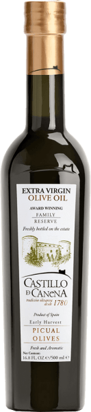 """The Reserva Familiar Picual virgin olive oil from Castillo de Canena in Spain is presented in a fresh and intense green colour. On the nose, this Picual olive oil reveals fresh aromas of herbs, tomatoes and green wheat. This virgin olive oil is very aromatic and concentrated with a fine taste, which is typical of the variety and extremely harmonious. Food recommendation for the Native Olive Oil Reserva Familiar Picual of Castillo de Canena Use this olive oil for salad dressings, tomato soup, gazpacho, smoked ham and cheese, as well as grilled meat. Awards for the Virgin Olive Oil Reserva Familiar Picual of Castillo de Canena The gourmet """"olio award"""": 1st place (2016) FLOS OLEI: highest score"""
