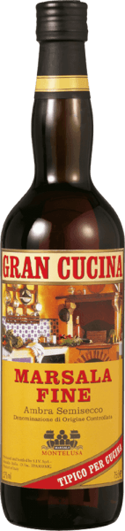 Marsala Fine Gran Cucina Marsala DOC by Baglio Curatolo Arini from Marsala is a traditional Sicilian liqueur wine, harmoniously soft in taste and with beautiful aromatic spice, an indispensable ingredient for refining some classic dishes of Italian cuisine and desserts.  Production of the Marsala Fine Gran Cucina by Baglio Curatolo Arini For the production of Marsala, the indigenous Sicilian grape varieties Grillo, Cataratto and Inzolia are traditionally vinified together and fortified with alcohol. The Marsala Fine must mature for at least 1 year in a wooden barrel.  Recommendations for Marsala Fine Gran Cucina Who doesn't know you, the Scaloppine al Marsala, Tagliatelle alla Siciliana or the classic Zabaione? The special touch of these wonderful preparations is only due to the Marsala Fine!