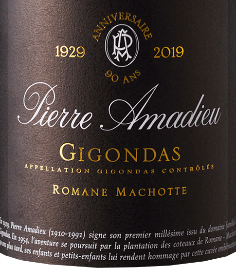 The novels Machotte AOC Gigondas by Pierre Amadieu is presented in an extremely dark, dense red with black-violet highlights. In the aromatic bouquet, aromas of plum jam and a hint of vanilla and juicy blackberries fuse with notes of Provencal wild herbs (thyme, rosemary and laurel). These aromas also continue on the soft, balanced and delicate palate of the novel Machotte, where they lead into a long, spicy finish with black pepper. It has a full body with a strong, fleshy structure and soft, powerful and enormously balanced tannins. We recommend it with risotto with truffles, beef stew, wild boar and vanilla ice cream with raspberry puree.